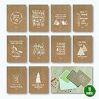 10 Postales Navidad con sobre impresas en papel kraft (10 diseños). HappyMots: regalos originales, buenos deseos, frases bonitas... Con nuestras postales felicitar la Navidad es súper fácil!