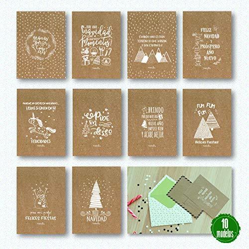 10 Postales Navidad impresas papel kraft 10 diseños