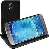 PhoneNatic Copertura di Cuoio Artificiale per Samsung Galaxy S5 Neo - Bookstyle Nero - Cover + Pellicola Protettiva