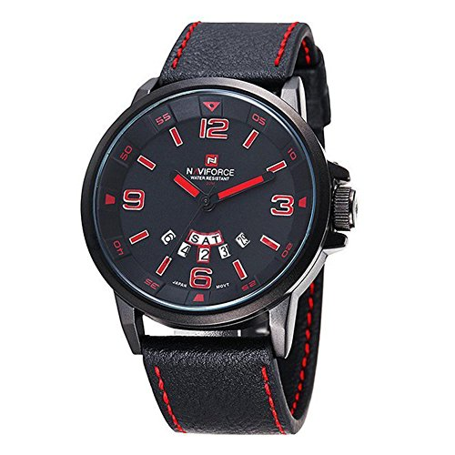 Herrenuhr - NAVIFORCE Herren Quarz-Sport-Luxus-Armbanduhr-Datum Tag Militaer Schwarz Rot