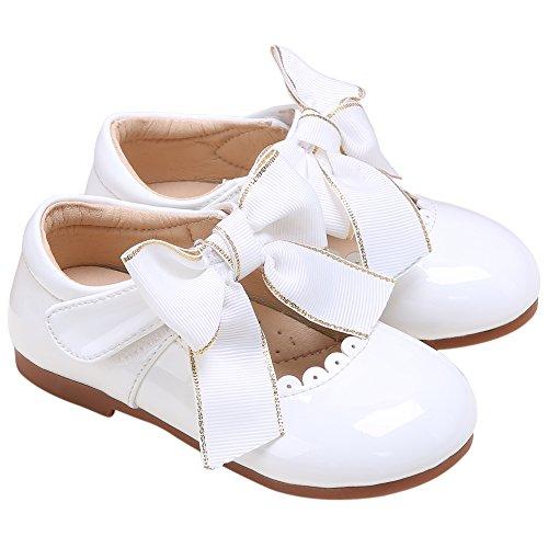 Pettigirl Filles Charmant Bowknot Fête Mariage Bal de Promo École Chaussures Blanc