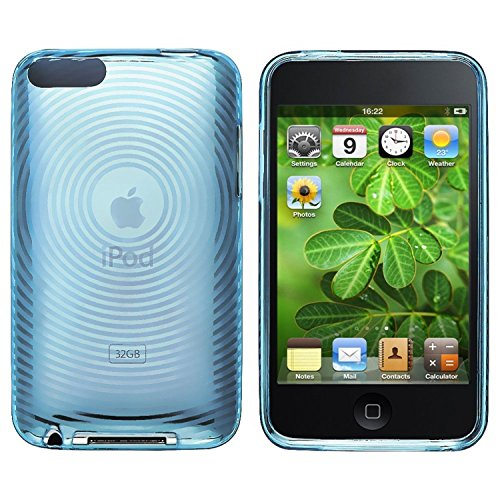ChannelExpert TPU Rubber Hülle case Tasche Bumper Etui Cover Schutzhülle Schutzcover für Apple iPod touch 2nd / 3rd Gen transparent blau Concentric Circle