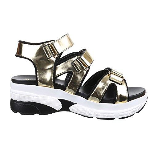 Damen Schuhe, H218, SANDALEN PLATEAU Gold