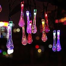 Cadena solar de luces LED Salcar de 5 metros, 20 esferas de decoración, Solar Luz Cadena luminaria para navidad, fiestas, celebraciones (blanco cálido) /gotas de agua RGB