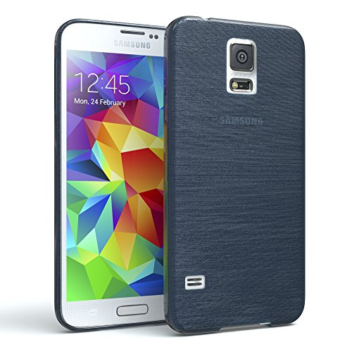 EAZY CASE Hülle für Samsung Galaxy S5/LTE+/Duos/Neo Schutzhülle Silikon, gebürstet, Slimcover in Edelstahl Optik, Handyhülle, TPU Hülle/Soft Case, Backcover, Silikonhülle Brushed, Dunkelblau