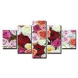 xiaolaji Leinwand Wandkunst Bilder Dekor Für Wohnzimmer 5-Teilige Printed Panel Hd Wall Art Schöne Und Erstaunliche Bunte Rosen Blumen S Poster-Size2-Frameless
