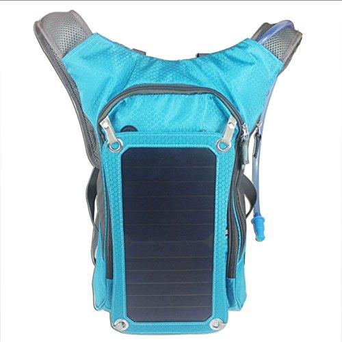 LKJCZ Solar-Wanderrucksack, 6,5 Watt Solarladegerät Mit 2L Wasserbeutel, Radfahren, Wandern, Aufladen,Blue