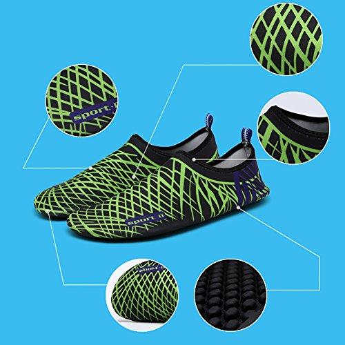 ROMANTIC BEAR Women Men Quick Dry Aqua Shoes Sports Water Socks with Holey Ventilation Pool A7:Black Green Stripes