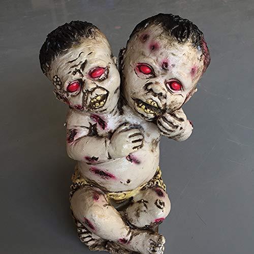 Horror Halloween Streich Dekorative Requisiten, Blutige Doppelköpfige Zombie Ghost Kid Spielzeug, Am Besten Für Halloween Beängstigend, Innen- Und Außenausstattung, Spukhaus
