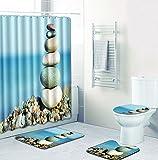 SLGJYY Stein Duschvorhang Bodenmatte Kombination Vierteiligen Anzug Bad WC Teppich Dusche Zimmer Matte Matte