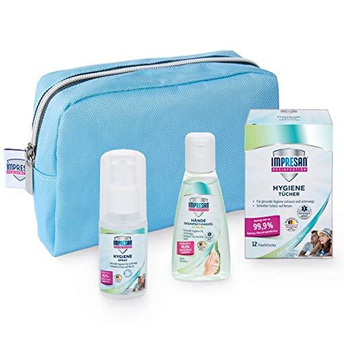 Impresan Hygiene Reise Set: Hygienetücher, Hygienespray to go, Hände Desinfektions Gel Aloe Vera, Stofftasche Reiseset