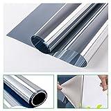 RH Art RH Sonnenschutzfolie Fenster Privatsphäre UV-Schutz Sichtschutz Spiegelfolie Silber, 90 x 200 CM