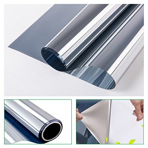 RH Art Sonnenschutzfolie Fenster Privatsphäre UV-Schutz Sichtschutz Spiegelfolie Silber, 90 x 200 cm