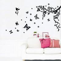 Walplus VM-DL4D-BPUG - Adhesivo mural (50 x 70 cm), diseño rama y mariposas, color negro