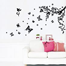 Walplus - Adesivo murale rimovibile in vinile, motivo: farfalle danzanti e ramo d'albero