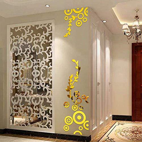 SparY Wandaufkleber, 3D Schlafzimmer Acryl Kunst Hintergrund Spiegel Wohnzimmer Aufkleber Kreis Ring Kristall DIY Wohndeko Entfernbarer - Gold, Free Size - Maker 3d-kunst