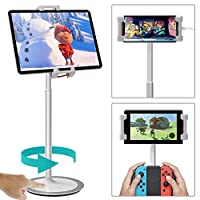 """Klearlook Tablet&Cell Phone Stand, Height&Multi-Angle Adjustable-Tilt 76 Degree, Swivel 360 Degree Rotation Stand Mount, Aluminum Stand Holder for 4.7"""" to 12.9"""" Tablets and All Smartphones - Silver"""