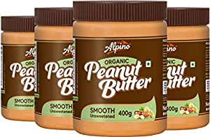 Alpino Organic Natural Peanut Butter Smooth 1.6 KG | Unsweetened | Made With 100% Roasted Organic Peanuts | No Added Sugar | No Added Salt | No Hydrogenated Oils | 100% Non-GMO | Gluten-Free | Vegan | 400 G Pack Of 4