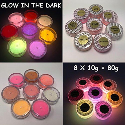 Prestige Glow in the Dark Pigment Puder. Am längsten Glow in the Dark Puder. Empfohlen für alle farblos Medium. Tinte. PAINT. Kunststoff Kunstharz. Glas. etc. 80g (8 x 10g) Sample Pack (Red) (4 Unze-pinsel)