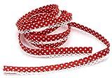 5m Schrägband mit Häkelborte Punkte rot