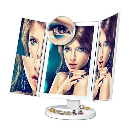 2x Spiegel Lupe (Makeup Spiegel Beleuchtet Kosmetikspiegel Schminkspiegel Touchscreen zum Licht Dimmen Reisespiegel mit 22 LEDs 180° Einstellbar Drehung 1X 2X 3X 10X Vergrößerungsspiegel)