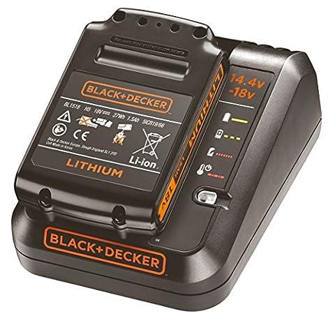 Black+Decker Starterkit, 1A Ladegerät, 18V 1.5Ah Li-Ion Akku, LED-Ladezustandsanzeige, 4 Anzeigenmodi, Ladezeit (1.5, 2.0, 4.0Ah): ca. 90 / 120 / 240min, für das 18V-System, 14.4V kompatibel, BDC1A15