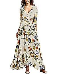 HOUSWEETY Damen Bodenlanges Kleid Boehmisches Floral Maxikleid Abendkleid Strandkleid V-Ausschnitt Kleid 3/4-Arm