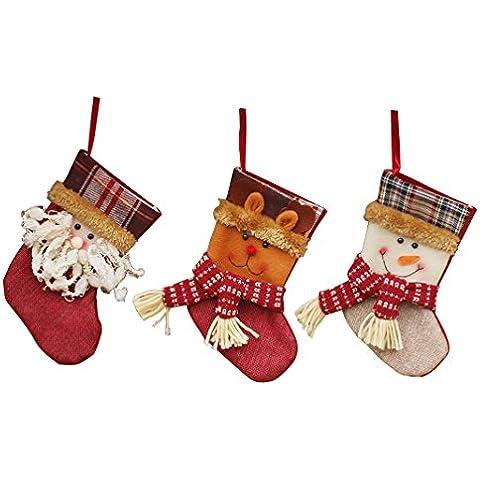 Medias de Navidad,Moon mood® Decoración de Navidad 3 PCS Set Christmas Socks Regalos Pequeño Tamaño 15-25cm Calcetines de la Media Razones Decoración de Navidad Fine Productos Básicos para la Familia de la Fiesta de Navidad Bar