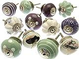 Türknauf-Set aus Keramik, verschiedene Designs, 12 Stück, GEE-01