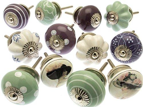 Vintage-Chic GEE-01 Lot de 12 boutons de tiroir variés en céramique