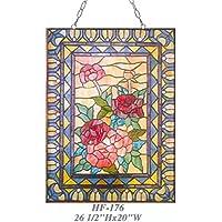 "Gweat HF-176 Rural Vintage Tiffany Style Vitral Iglesia Arte Flores Dulces Rectángulo Ventana Colgante Panel de Cristal Suncatcher, 26.5""x20"""
