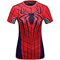 Cody Lundin® T-Shirt manches courtes Femme, Sport Fitness Running Yoga Danse Tees Super-héros Spider Héros Shirt
