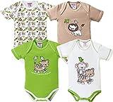 Baby Butt Body 4er-Pack mit Druckmotiv Tiere Interlock-Jersey beige Größe 62 / 68 thumbnail