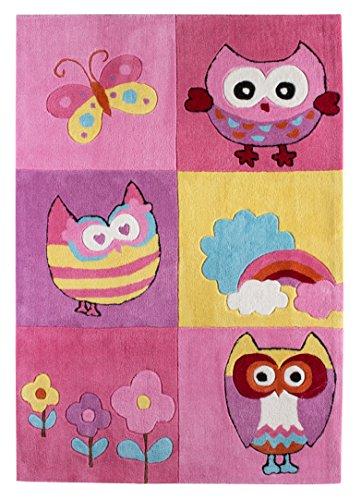 andiamo Kinderteppich Eule, Spielteppich für das Kinderzimmer, 120 x 170 cm in rosa