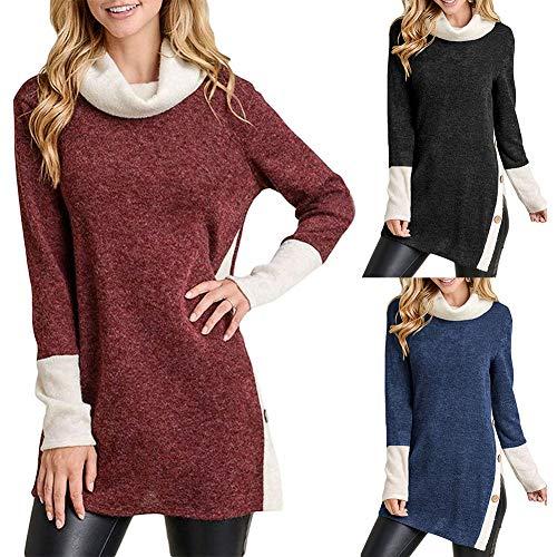 Color Block,Loose,Split Design,Buttons Decor,komfortabel Cowl Neck Button Split Loose Sweatshirt Casual Women es Color Block Tunic Top-Wine Red XL -