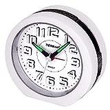 Reloj Despertador Analógico,Visualización de Números en 3D Operador a Batería Reloj de Mesa de Cabecera Snooze Funciones de Luz Reloj Matutino para Niños,Hombres Mujeres Reloj de Oficina (Blanca)