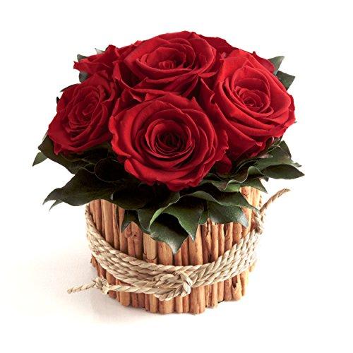 Rosengesteck 6 konservierte Rosen lang haltbar 3 Jahre / Blumengesteck / Bauernhaus / Blumen Deko / Tisch von ROSEMARIE SCHULZ® Heidelberg (Rot)