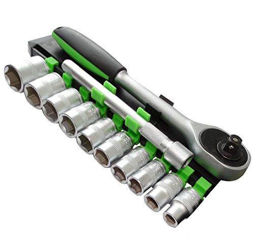 AERZETIX: Juego de llaves de vaso carraca compacto 3/8 extension 12cm 8/10/11/12/13/14/15/16/17/19mm CR-V C17079