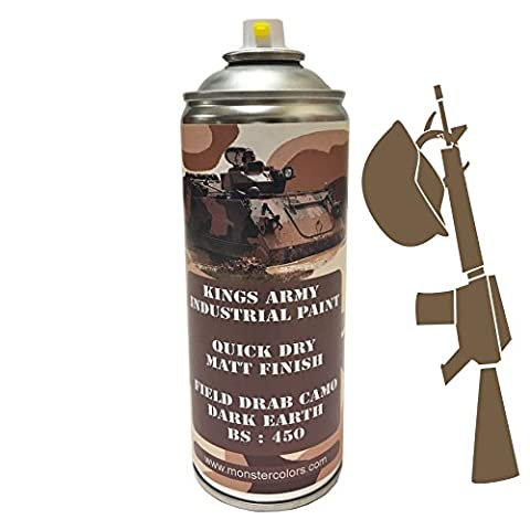 Kings Army Dark Earth Field Drab Camo Bs 450 Industrial Military Matt Spray Paint 400ml Military Vehicle Paint, Airsoft , Paintball , Model Maker Paint, royal air