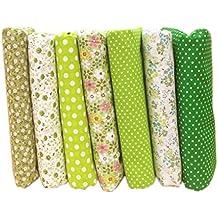 LUFA Tela de algodón de 7pcs DIY tela verde de la flor de la serie imprimió el material textil de costura
