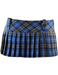 9 Inch Women's Sexy Pleated Tartan Skirt Schoolgirl Fancy Dress Costume (Blue & Grey)