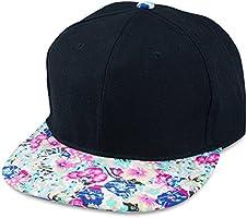 Sense42 Schwarze Snapback Cap | mit Schirm im Floral Design | Flat Cap Bill | Unisex | Hip Hop Kappe | Schirmmütze | Blumen | One Size | in verschiedenen Farben