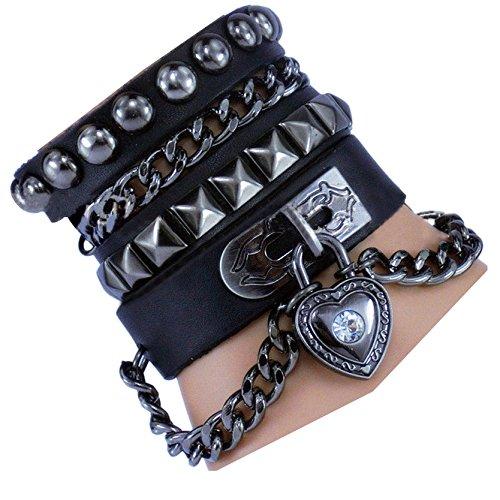 Stift Armband Punk Rock Multi Kreis Stift Kette Echtleder Creative Wickelarmband Farbe schwarz (Punk Star Kostüm)