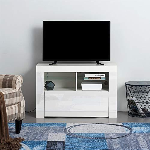 Ruication Moderner LED-TV-Schrank weiß matt Korpus weiß Hochglanz Front TV-Ständer RGB Lichter Sideboard Möbel für Wohnzimmer Schlafzimmer Büro 100 cm White Body & White Fronts(No Led Light) (Licht-holz-tv-ständer)