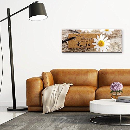 artissimo, Glasbild, 80x30cm, AG3449A, Smile, Spruchbild, Zitat, Bild aus Glas, Moderne Wanddekoration aus Glas, Wandbild Wohnzimmer modern