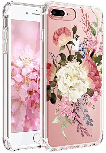 RXKEJI iPhone 7 Plus Hülle, iPhone 8 Plus Hülle, Handyhülle TPU Silikon Weiche Clear Schutzhülle Transparent Flexibel Case Handy Hülle für Apple iPhone 7 Plus/iPhone 8 Plus - White Red Flower