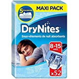 Huggies Drynites 8-15 ans Garçon (27-57kg) - Sous-Vêtements de Nuit Absorbants pour Enfants qui Font Pipi au Lit - x52 Culottes (Lot de 4 Paquets de 13)