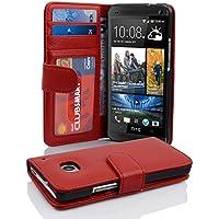 HTC ONE M7 (1. Gen.) Hülle in ROT von Cadorabo - Handyhülle mit 3 Kartenfächer für HTC ONE M7 (1. Gen.) Case Cover Schutzhülle Etui Tasche Book Klapp Style in INFERNO ROT