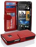 Cadorabo Hülle für HTC One M7 (1. Gen.) Hülle in Inferno Rot Handyhülle mit 3 Kartenfächern Case Cover Schutzhülle Etui Tasche Book Klapp Style Inferno-Rot