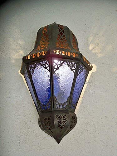 Pared Marroquí Hierro y Vaso Azul Lámpara Farol Lámpara M12 Lámpara